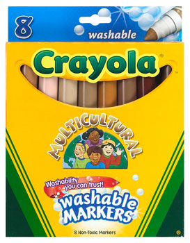 crayola washable multicultural broad line markers is an assortment of ethnic sensitive color palette the broad line markers have a unique conical tip that - Skin Color Markers