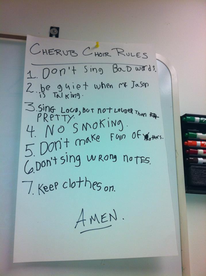 Cherub Choir Rules